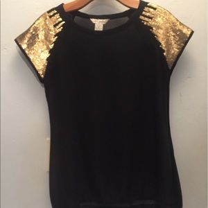 Sheer black shirt with gold sequence